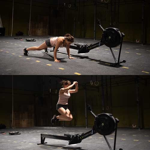 crossfit burpee over the row